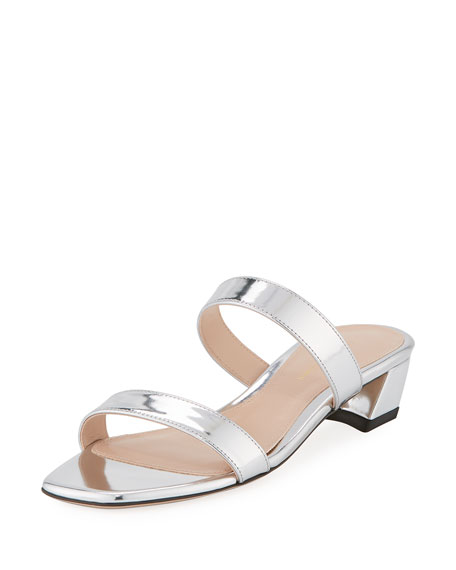 Ava Low-Heel Metallic Leather Slide Sandal