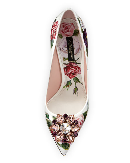 Jeweled Floral-Print Patent Pumps
