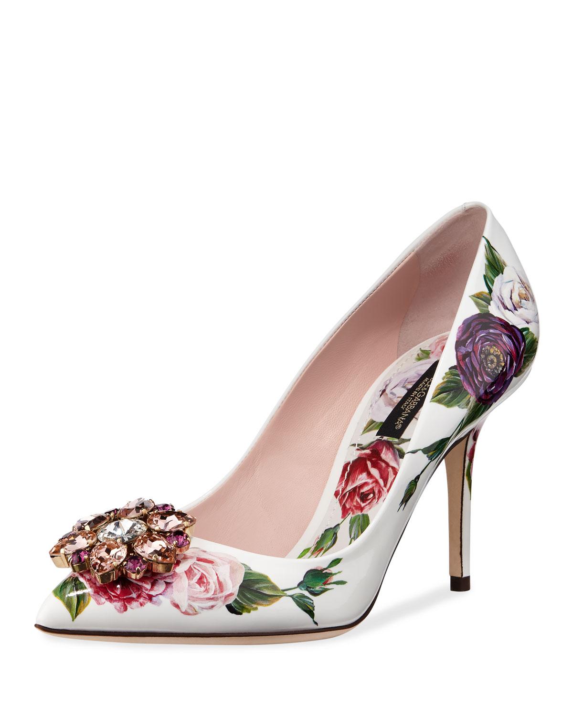 Dolce Gabbana & Gabbana Dolce Jeweled Floral-Print Patent Pumps b2bb63