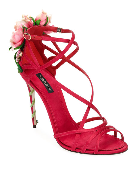Dolce & Gabbana Jeweled Satin Sandal with Rose