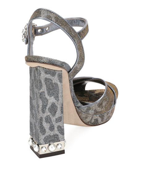 Glitter Leopard Platform Sandal