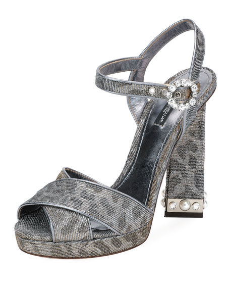 Platform Sandals In Glittery Leopard-Print With Bejeweled Heel, Oro/Argento