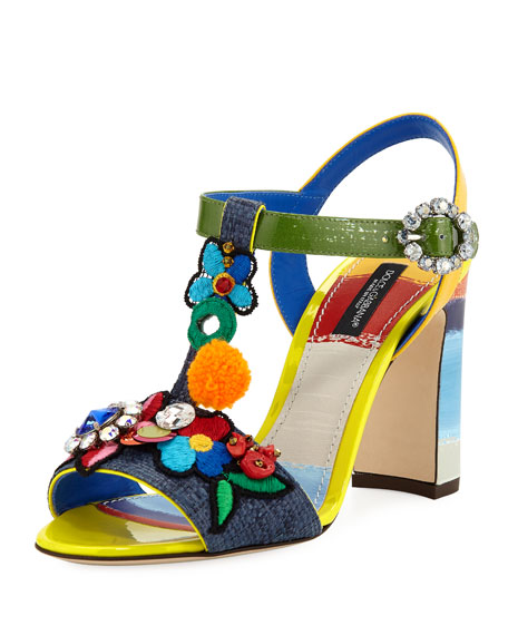 Dolce & Gabbana Flower Patch Embellished Block-Heel Sandals