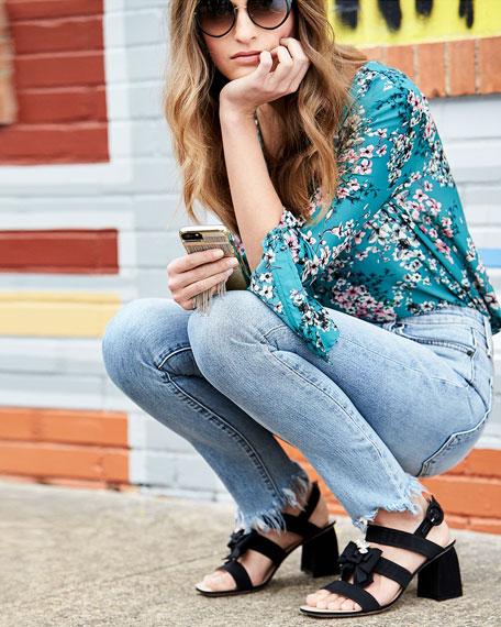 Donna Embellished Grosgrain City Sandal