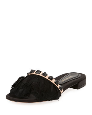 ea604ded7c71 Stuart Weitzman Lando Feather Slide Sandals