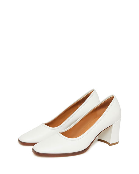Leather Square-Toe Block-Heel Pump