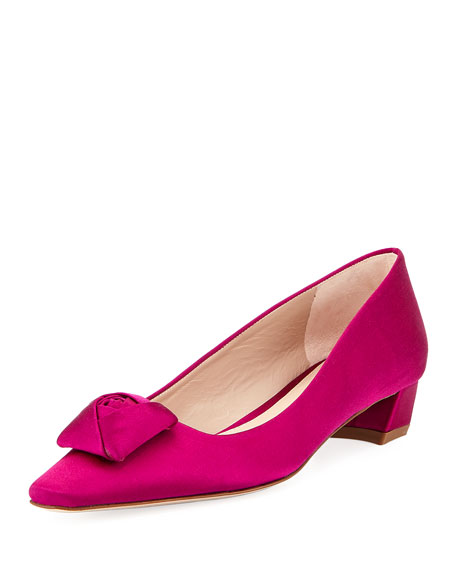 Rose Low-Heel Satin Pump