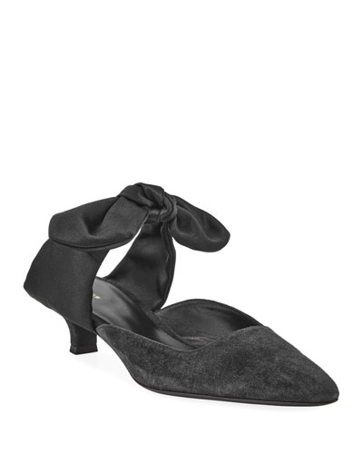 Coco Suede 40mm Mule with Satin Bow