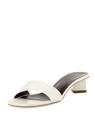 Chocolate Capretto Leather Slide Sandals