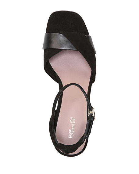 Fiona Suede/Leather Ankle-Strap Sandal