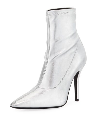 Metallic Stretch-Leather Booties
