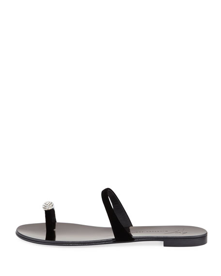 NuvoRock Velvet Flat Sandal with Crystal Toe
