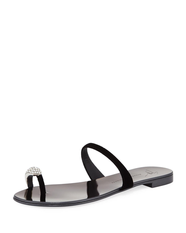 Giuseppe Zanotti NuvoRock Velvet Crystal Flat Sandal with Crystal Velvet Toe 89dfaf