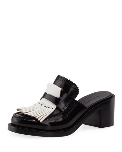 English Icons Fringe Block-Heel Mule