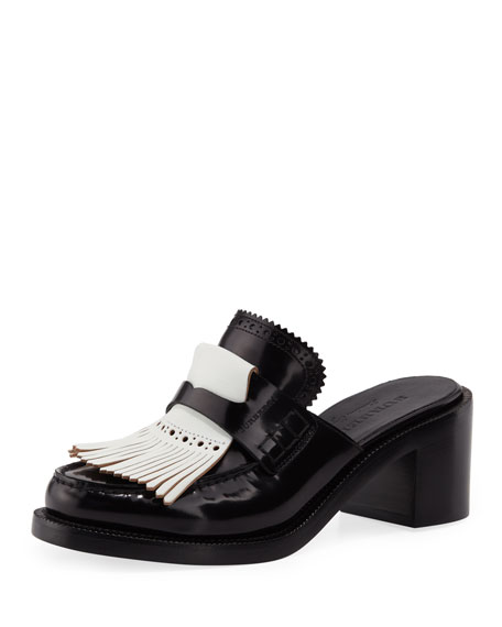 Burberry English Icons Fringe Block-Heel Mule