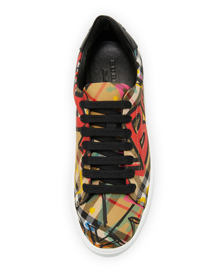 Westford Vintage-Print Check Low-Top Sneaker