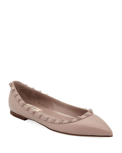 Rockstud Smooth Calf Leather Ballerina