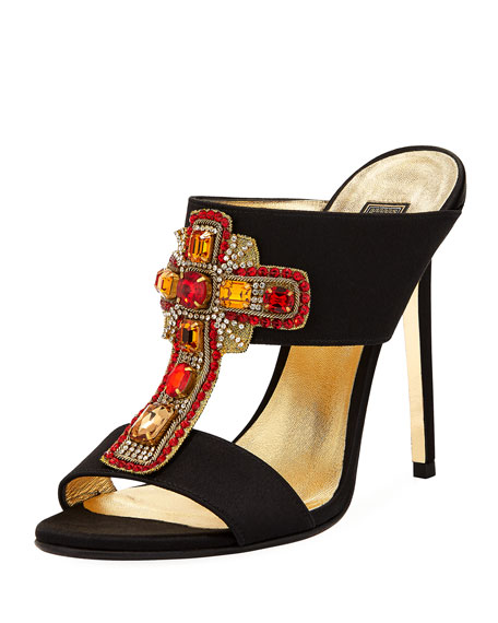 Embellished Cross Mule Pump