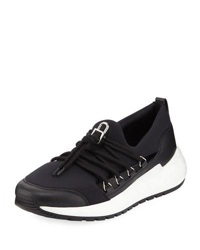 Run1 Neoprene Lace-Up Sneaker, Black