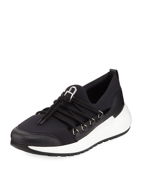 Run1 Neoprene Lace-Up Sneaker, Black