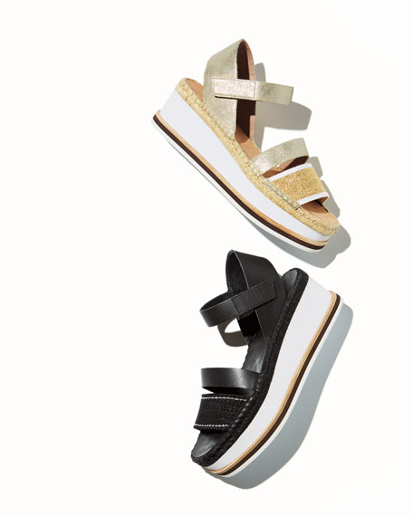 Anie Platform Mesh/Metallic Brush-Off Wedge Sandals