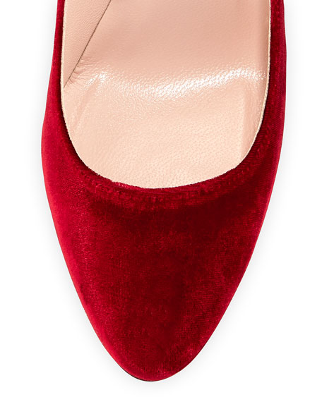 Ania Velvet Pumps with Removable Self-Tie Ribbon