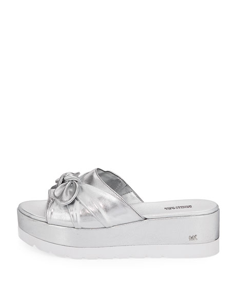Pippa Metallic Leather Platform Slide Sandal with Bow