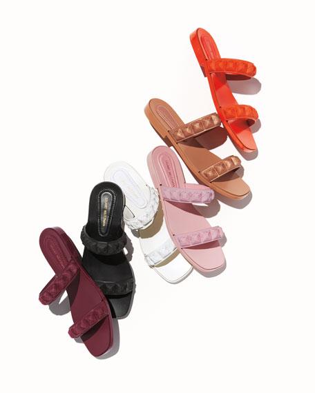 Pippa Metallic Leather Platform Slide Sandal with Bow