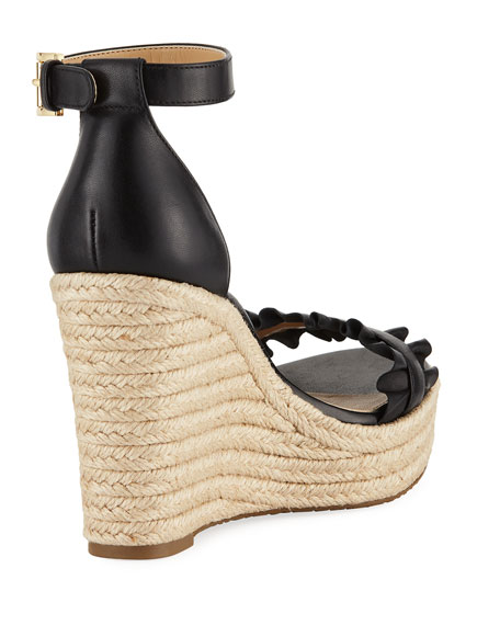 Bella Ruched Leather Wedge Sandal