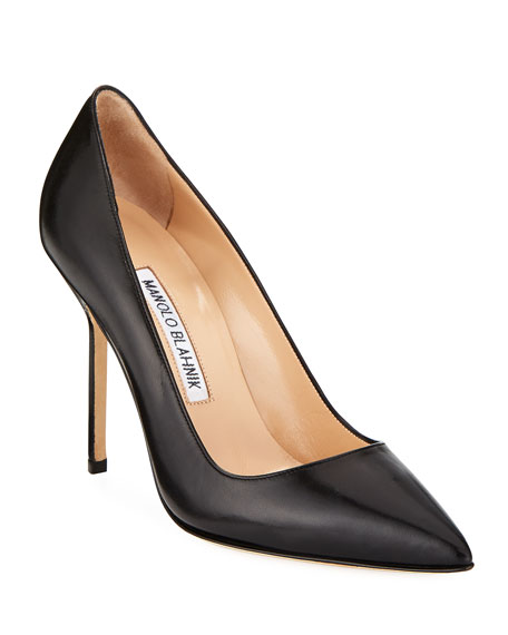 Manolo Blahnik Bb 105 Leather Point Toe Pumps In Black