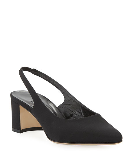 Manolo Blahnik Allurasa Fabric Slingback Pumps, Black