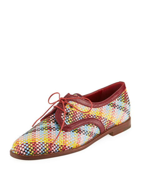 Manolo Blahnik Majorella Multicolor Woven Leather Oxford