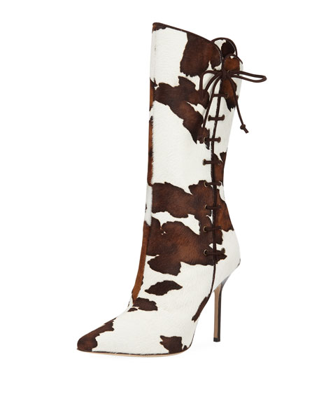 Manolo Blahnik Vane Calf Hair Mid-Calf Boot with Lace-Up Detail | Neiman Marcus