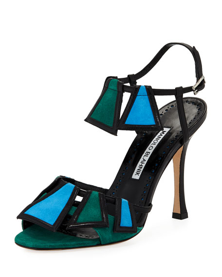 Manolo Blahnik Chamba Colorblock 105mm Sandal