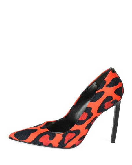Leopard-Print Velvet Pumps