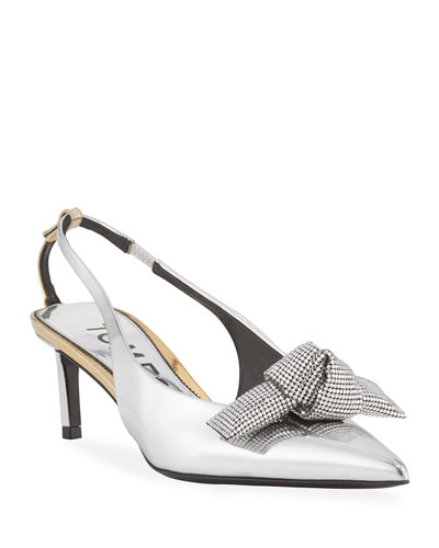 Mirrored Metallic Slingback Pumps with Crystal Bow