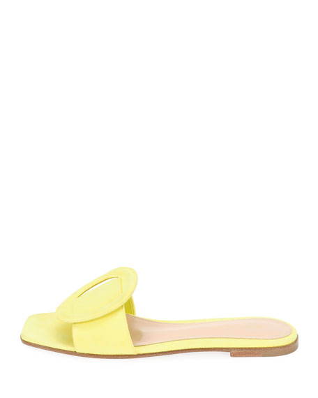 Suede Flat Sandal with Ring Detail