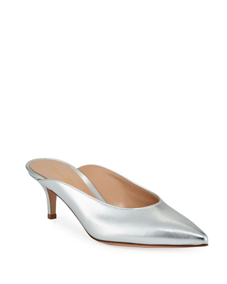 Low-Heel Metallic Leather Dip-Vamp Mule