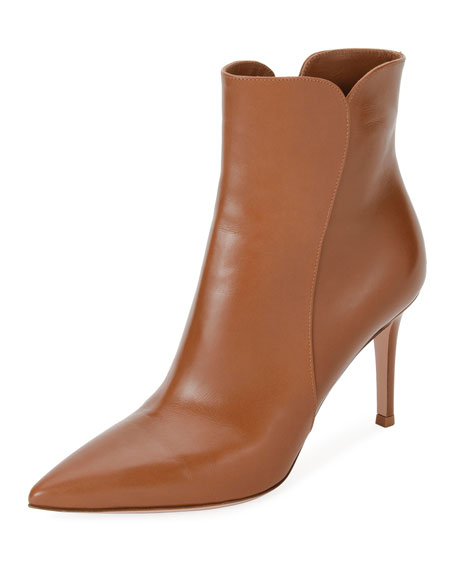 GIANVITO ROSSI Levy 85 Leather Ankle Boots, Saddle