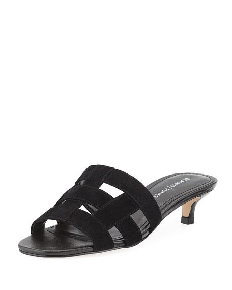 Etta Caged Suede Kitten-Heel Mule Sandal