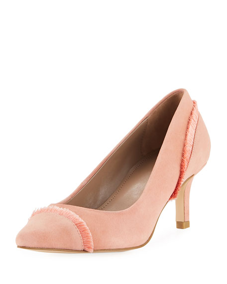 Donald J Pliner Floe Frayed Kitten-Heel Pump, Rose