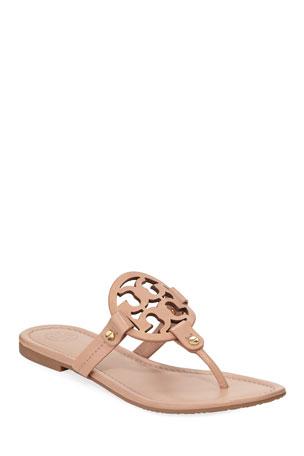 Tory Burch Miller Flat Leather Logo Slide Sandals