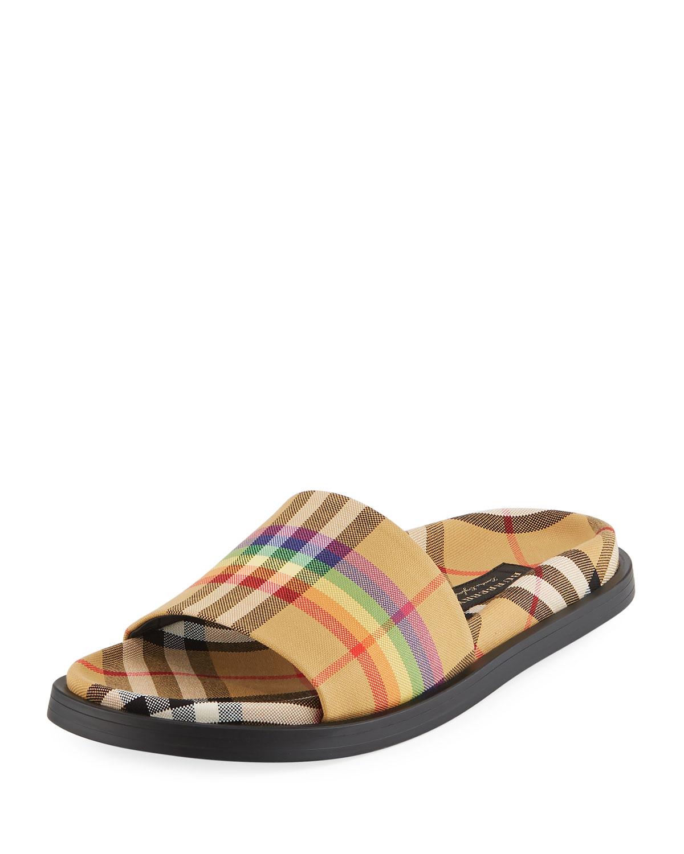 2eaf93032 Burberry Ashmore Rainbow Check Slide Sandal   Neiman Marcus