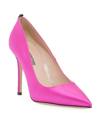 Fawn Satin Pointed-Toe 100mm Pumps