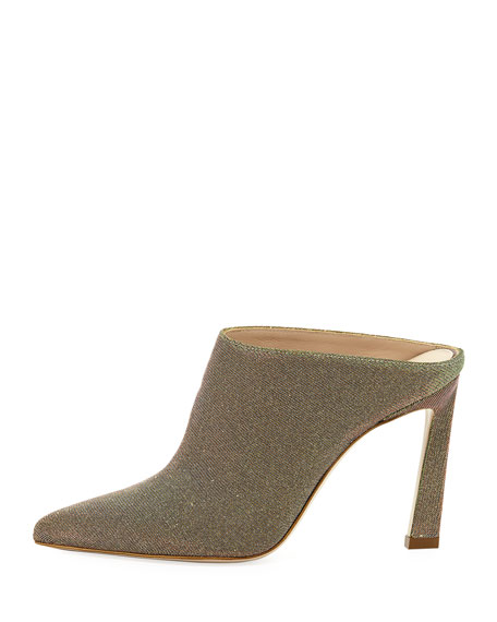 Camila Pointed-Toe Metallic Fabric Mule