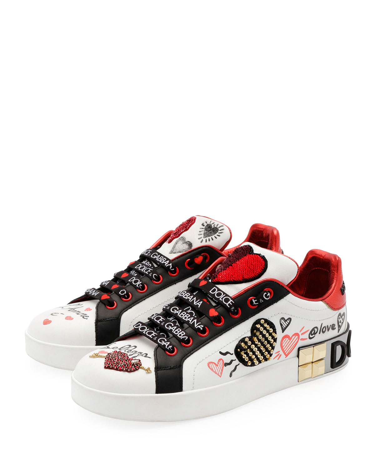 Dolce gabbana leather low top sneakers with graffiti hearts