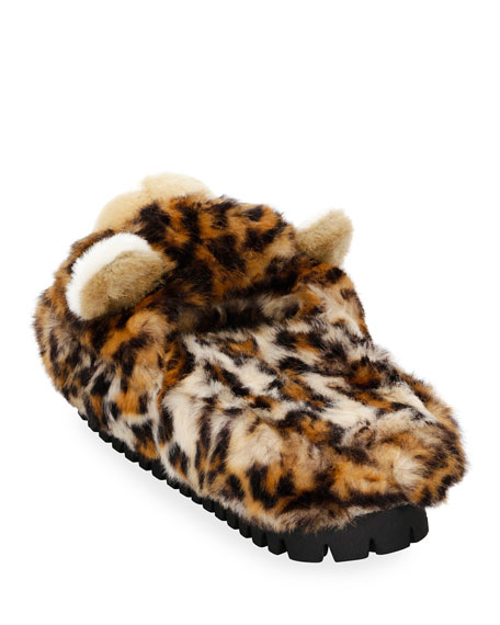 Leopard-Print Faux-Fur Slide Slipper Sandal