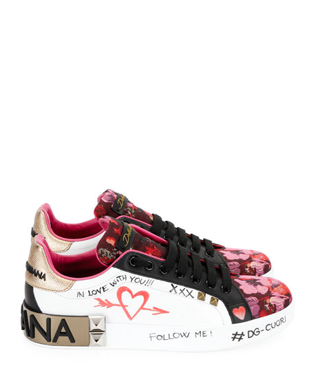 Leather and Floral-Jacquard Graffiti Low-Top Sneakers