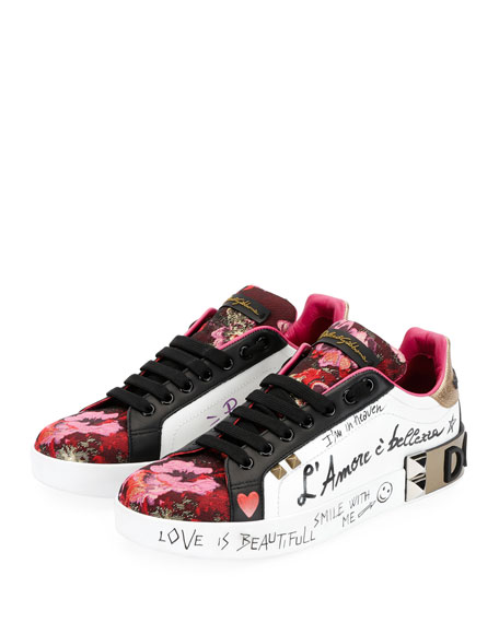 Dolce & Gabbana Leather and Floral-Jacquard Graffiti Low-Top