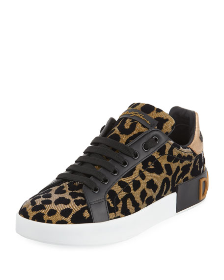 Logo-Embellished Flocked Textured-Lamé And Leather Sneakers, Leopard